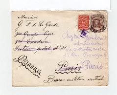 Sur Env. Deux Timbres Empire Russe Armoiries 3 K. Et Effigie Nicolas II CAD Mockba 1915. Destination Paris. (1108x) - 1857-1916 Empire