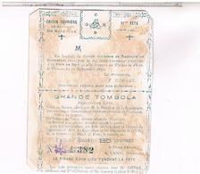 Chromos.   TOMBOLA  1892  CAISSE OUVRIERE  XI FETE BORDEAUX..CH358 - Autres