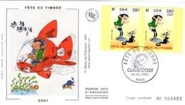 FRANCE 3370 3371 FDC 1er Jour Gaston LAGAFFE André FRANQUIN Spirou Bédé Comics Cartoon Strip Chat Avion - Bandes Dessinées