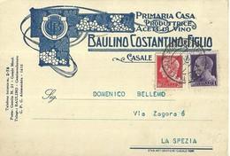 """2717 """"BAULINO COSTANTINO & FIGLIO-PRIMARIA CASA PRODUTTRICE ACETI DI VINO-CASALE MONF"""" CARTOLINA POSTALE ORIGINALE SPED. - Commercio"""