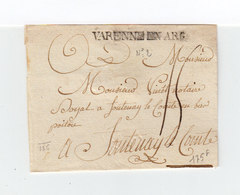Sur Partie D'env. Cachet Linéaire Varenne En Arg. Destination Fontenay Le Comte. Taxe Manuscrite. (1109x) - Postmark Collection (Covers)