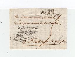 Sur Partie D'env. Cachet Linéaire 42 Nantes. En Cursive Le Comité Central Loire Inférieure Martson. (1110x) - Marcophilie (Lettres)