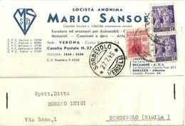 """2719 """"SOCIETA' ANONIMA MARIO SANSOE'-FORNITURE E ACCESSORI PER AUTOMOBILI-VERONA """" CARTOLINA POSTALE ORIGINALE SPED. - Non Classificati"""