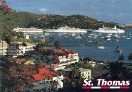 1 AK US Virgin Islands - Island St. Thomas * Blick Auf Die Hauptstadt Charlotte Amalie - Im Hafen 3 Kreuzfahrtschiffe * - Jungferninseln, Amerik.