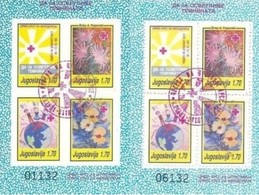 JUGOSLAVIA - : 1991 Red Cross Week Perforated And Imperforate Blocks Cancelled - Croce Rossa