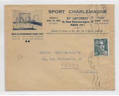 1945 - ENVELOPPE PUB DECOREE (SPORT CHARLEMAGNE) à PARIS - 1921-1960: Modern Period