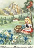 """CARTE """"Petite Fille Prairie Fleurs Sac Chalet Montagne écureuil  Ed : Dhrom - Autres Illustrateurs"""