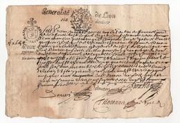Généralité De Lyon 1676 - Cachets Généralité
