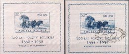 400Jahre Post 1958 Polen Blocks 22 **/o 50€ Seide Historische Kutsche Ss Blocs Painting Philatelic Sheets Bf Polska - Blocchi E Foglietti