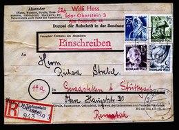 A5874) Franz Zone Adressträger Schwerer R-Brief Idar-Oberstein 16.01.48 - Zone Française