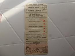 CARTE D'EXAMEN DU PERMIS DE CONDUIRE .ÉPREUVE PRATIQUE - Titres De Transport