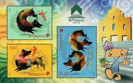 Singapore - 2018 - Lunar New Year Of The Dog - Macau 2018 Stamp Exhibition - Mint Souvenir Sheet - Singapur (1959-...)