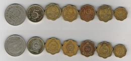 Sri Lanka  2 Cents 1957, 10 Cents 1963, 1969, 1971, 1975, 2 Rupees 1981 Mahaweli, 5 Rupees 2002 - Sri Lanka