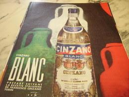 ANCIENNE PUBLICITE A BASE DE VIN APERITIF   CINZANO 1960 - Alcohols
