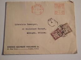 Enveloppe Postée à LONDRES, Pour Limoges, Taxée, 1933 - Autres