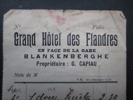 FACTURE (M1611) BELGIQUE BLANKENBERGHE (2 Vues) GRAND HÔTEL DES FLANDRES Prop. G. Capiau - Sports & Tourisme