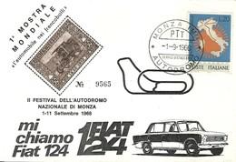 """2726 """" 1a  MOSTRA MONDIALE = L'AUTOMOBILE NEI FRANCOBOLLI = II FESTIVAL DELL'AUTODROMO NAZ. DI MONZA-1-11/9/1966 """" FDC - 6. 1946-.. Republic"""