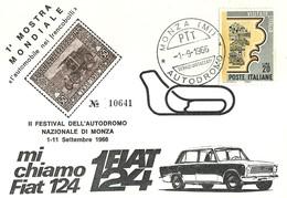 """2727 """" 1a  MOSTRA MONDIALE = L'AUTOMOBILE NEI FRANCOBOLLI = II FESTIVAL DELL'AUTODROMO NAZ. DI MONZA-1-11/9/1966 """" FDC - 6. 1946-.. Republic"""