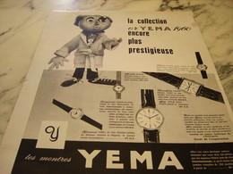 ANCIENNE PUBLICITE COLLECTION OR  MONTRE YEMA 1960 - Bijoux & Horlogerie