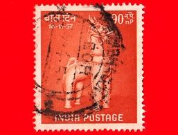 INDIA - Usato - 1957 - Giornata Dei Bambini - Cavalli - Toy Horse, Playing - 90 - 1950-59 Repubblica