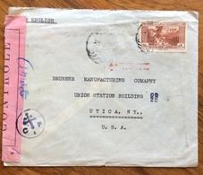 LIBANO  ENVELOPE COVER PAR AVION   FROM BEYROUTH  TO  UTICA N.Y.  U.S.A.    CENSURATA - Libano