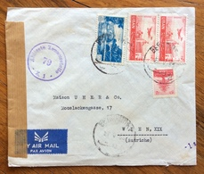 LIBANO  ENVELOPE COVER PAR AVION   FROM BEYROUTH  TO  WIEN AUSTRIA     CENSURATA - Libano