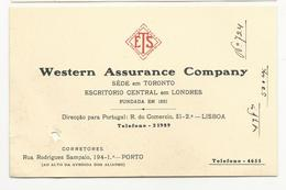 Tipographic Proof//Essay (13x8.5cm) Western Assurance Company * Lisboa * Porto * Portugal * Holed - Visiting Cards