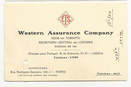 Tipographic Proof//Essay (13x8.5cm) Western Assurance Company * Lisboa * Porto * Portugal * Holed - Cartes De Visite
