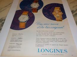 ANCIENNE PUBLICITE VOUS AVEZ RAISON MONTRE LONGINES  1960 - Jewels & Clocks