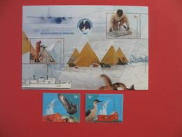 Bloc Feuillet + 2 Timbre  Instituto Antartico Argentino  1951-2001 - Blocs-feuillets