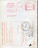 42863 Italia, Red Meter Freistempel Ema, 1996 Ordine Geologi Calabria Catanzaro - Autres