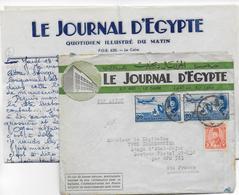 1947 - LETTRE DECOREE PUB Du JOURNAL D'EGYPTE à LE CAIRE Par AVION => BPM 523 (KONSTANZ - ALLEMAGNE) - Égypte