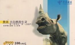 TARJETA TELEFONICA DE CHINA. RINOCERONTE - RHINOCEROS. GXDCBQZ-2003-1(8-3). (673). - Selva