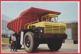 Camion Belaz 540, Fabriqué à Minsk Recto. Ecluses à Gorki Sur La Volga Verso. URSS. Russie. Encyclopédie De 1970. - Vieux Papiers