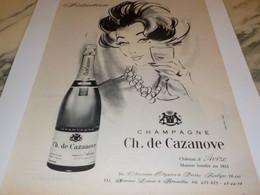 ANCIENNE PUBLICITE SEDUCTION LE CHAMPAGNE CH.DE CAZANOVE 1960 - Alcohols