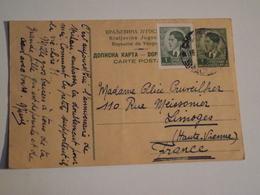 Carte, Entier Postal, YOUGOSLAVIE, Pour Limoges, 1940, + Complément - Postal Stationery