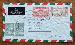 SIRYA  ENVELOPE COVER PAR AVION  FROM DAMAS TO  KANSAS CITY  U.S.A.  END TIMBRE FISVCAL  THE 30/5/1949 - Siria