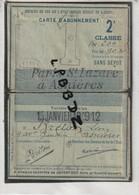 CARTE D'ABONNEMENT CHEMINS DE FER DE L'ETAT - PARIS ST LAZARE à ASNIERES - 2e Classe 1912 - TRAIN - Titres De Transport