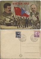 CSR Propagandakarte Zum Mai 1945 Befreiung Stalin & Benes, Russische Und Tschechische Soldaten, Panzer. 2x Sonderstempel - Czechoslovakia