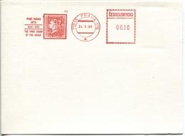 CSSR 150 Jahre Briefmarke Freistempel Praha 015  24.5.90 Blankoabschlag  Im Format Leicht Größer Als Eine Postkarte - Ex - Briefe U. Dokumente