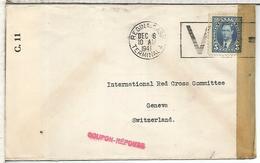 CANADA CC A CRUZ ROJA GENEVE RED CROSS 1941 V MORSE SIGNAL CACHET COUPON RESPONDE WW2 - 1937-1952 Reinado De George VI