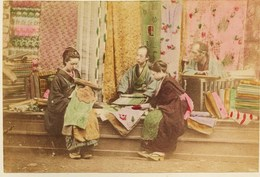 2 Photos Du Japon - XIXéme - Sur Papier Albuminé - 1) SACRED BRIDGE AT NIKKO  - 2) FABRICANTS DE SOIE NIKKO - Photos