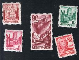 1948 Württemberg Mi 32 - 34 36 - 37 Sn 8N32 - 34 36 - 37Yt 32 - 34 Sg 32 - 34 36 - 37 AFA 39 - 41 43 - 44 Postfrisch Xx - Französische Zone