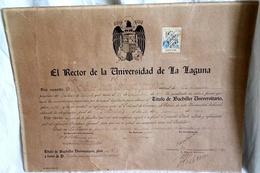 Ancien Baccalauréat Universitaire, 1947 - Université De La Laguna, Tenerife / 32x42cm - Diploma & School Reports