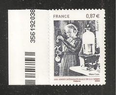 France, Autoadhésif, Adhésif, 524, Neuf **, TTB, Marie Curie, Année Internationale De La Chimie - Francia