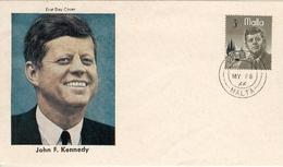 Enveloppe John F.KENNEDY  Timbre De Malte  Affranchissement Du 28 Mai 1966 - Malte (Ordre De)