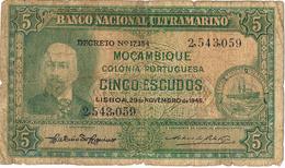MOÇAMBIQUE - 5 ESCUDOS - 1945 - Mozambique