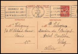 4929 Type Iris 80c Krag Secours National France Carte Interzone Vichy Zone Occupee Guerre 1941 Entier Postal Stationery - Ganzsachen