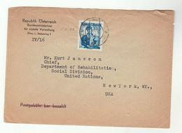 1955 AUSTRIA Bundesministerium Soziale Verwaltung COVER To UN REHABILITATION CHIEF NY USA  United Nations - 1945-.... 2nd Republic