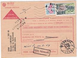 Chèques Postaux -Contre-remboursement De Grenoble (38) Pour Saint-Egrève (38) - 10/08/1964 - Timbre YT1233+1393 - Retour - Marcofilie (Brieven)
